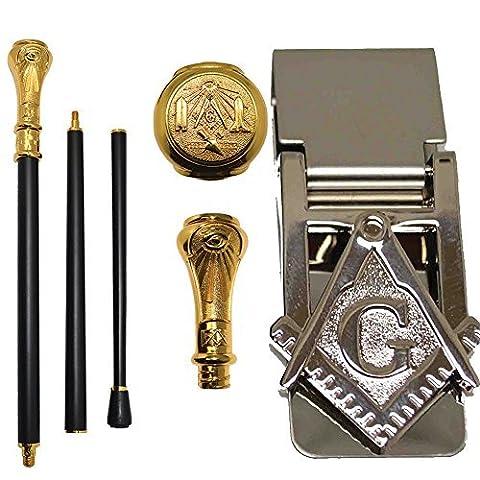 (Set) Freemason Engraved Walking Cane & Stainless Steel Masonic Money