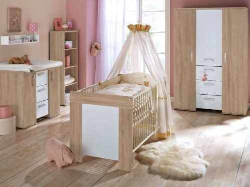 Babyzimmer Michi Komplett Sets verschiedene Ausführungen (Babyzimmer Michi 6-teilig, Eiche-Sägerau)