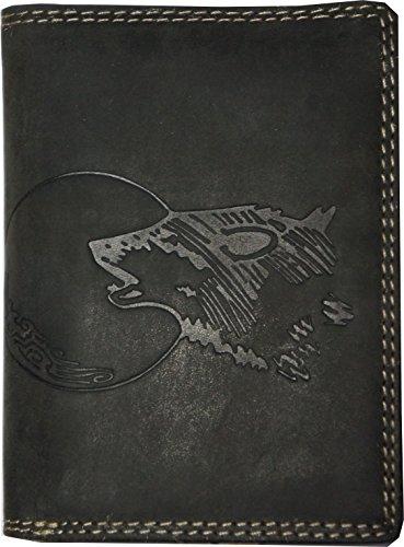 Hochwertige Geldbörse Geldbeutel Portemonnaie Büffel Wild Leder Wolf Mond geprägt -