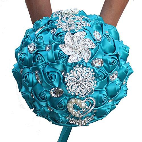 Multi Couleur Romantique mariée Mariage Tenue Bouquet de Fleurs de Mariage Perle Ruban Ruban de Mariage Fleur (Couleur : Lac Bleu)