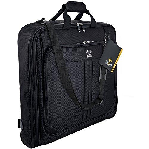 ZEGUR Kleidersack Anzughülle für bis zu 3 Anzüge, Kleiderhülle Handgepäckstück für jede Reise Geschäftsreise - mit verstellbarem Schultergurt und mehreren Taschen für weitere Gegenstände - Schwarz