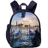 Lovely Schoolbag Old Boat Landscape Double Zipper Closure Waterproof Children Schoolbag Backpacks with Front Pockets for Kids Boys Girls