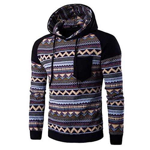 Wenyujh Herren Kapuzenpullover Hoodie Pullover Herbst Winter Stricken Sweatshirt Sweatjacke mit Retro Boho Muster