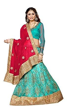 Gajiwala Sarees Women's Net Lehenga Choli (Blue and Red)