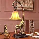 LILY American Style Retro Resin Monkey Tischlampe Hotel Study Zimmer Wohnzimmer Schlafzimmer Nachttisch Lampe E27 * 1