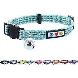 Pawtitas Collar de Gato Reflectante con hebilla de seguridad y cascabel removible Tuquesa