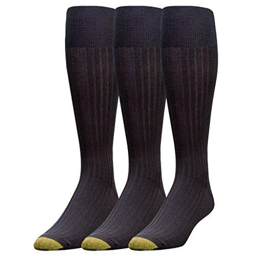 Gold Toe Herren Socken mit Goldfarbenen Zehen, kniehoch, merscerizierte Baumwolle, 3 Paar -