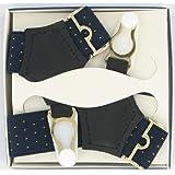 Men's Sock Suspenders (SKS6)- Navy Pin Dot