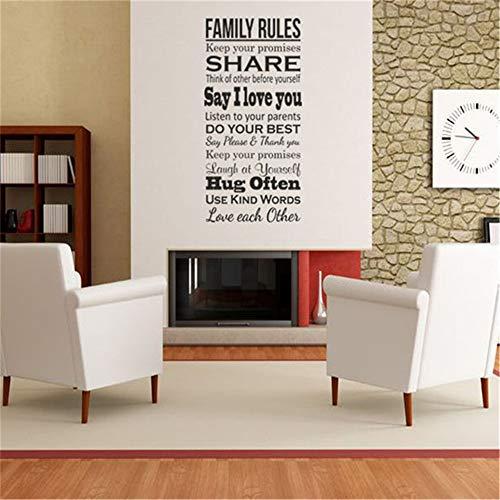 Espresso-fliesen-böden (yiyiyaya Familienregeln Zitat Wandkunst Vinyl Aufkleber Spielzimmer Grafik Transfer Kunst Dekor Wohnzimmer Zimmer Aufkleber Aufkleber rot 58 x 122 cm)