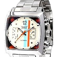 Hombres automático de la moda vestido de reloj Casual reloj de pulsera con banda de acero inoxidable