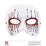 Augenmaske / Gesichtsmaske Psycho in weiß mit blutigen glitzernden Augen für Fasching / Halloween