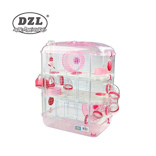 DZL Jaula para Hamster de plástico Duro, caseta Bebedero comedero Rueda Todo Incluido (1 Piso, 2 Piso, 3 Piso) (3 Piso, Persa)