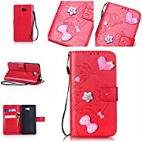 Casefirst Sony Xperia M2 Case, Sony Xperia M2 Accessories Folio Flip Cover Defender Cover Case Slim Shell for Sony Xperia M2 (Red)