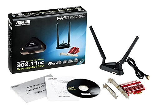 Asus Pce-ac56 Pcie-karte (Wi-fi 5 Ac1300 Dual-band, Pcie 1x, 2x Externe Antennen Mit Standfuß, High-power 2x2 Design, Turboqam, Dfs)