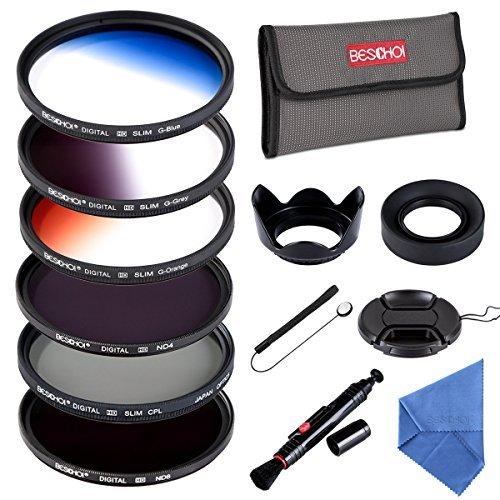 58MM Filter Set Beschoi 6Pcs Filter Kit (CPL+ND4+ND8)+ Verlauf Farbe Filter(Orange Blau Grau)+ Filter Zubehör Kit