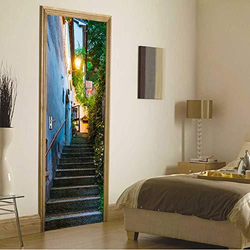 San Marino Golf (KNFLURNN Imitation 3D San   Marino Alte Straße Tür Aufkleber Für Wohnzimmer Schlafzimmer wasserdichte Vinyl Wandbild Selbstklebende Tapete)