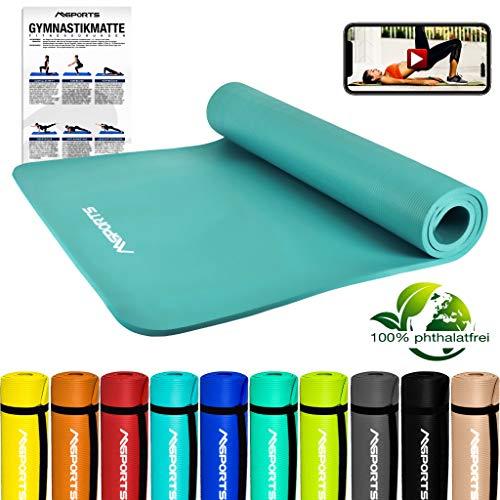 MSPORTS Gymnastikmatte Premium inkl. Tragegurt + Übungsposter + Workout App GRATIS I Fitnessmatte Cyan - 190 x 100 x 1,5 cm Hautfreundliche Phthalatfreie Yogamatte