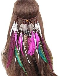 FORLADY Indio bohemio viento étnico hippie borla cuerda del pelo del pavo  real pluma tocado femenino 32ba627dfce4