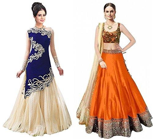 Super DealWomen\'s Red Goergette& Firozi Benglory Silk Semi-stitched Free Size Combo Pack Lehenga Choli (Women\'s Indian Clothing Ghagra Choli 2243_4059)