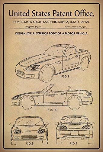 Schatzmix United States Patent Office - Design for An Exterior Body of a Motor Vehicle - Entwurf für EIN Karosserie vom Kraftfahrzeug - Honda, Japan 1999 - Design No 415.719 - Blechschild
