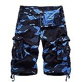 Herren Cargo Shorts Camo Bermuda Kurz Hose Camouflage Sommerhose Loose Fit Blau 31