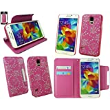 Emartbuy® Samsung Galaxy S5 Abnehmbare 2 in 1 Premium PU Leder Wallet Etui Hülle Case Cover Rosa Butterfly Diamante mit Kreditkartenfächern