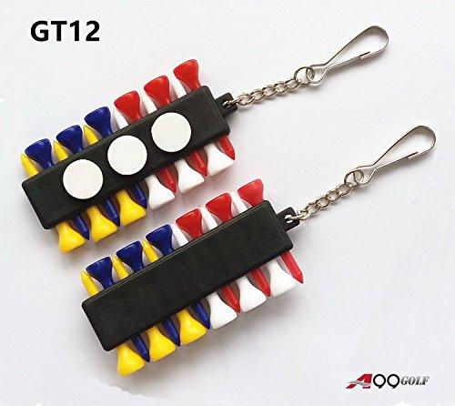 2sets di A99GT12Tee da golf Holder Carrier con 12Tee in plastica w 3Marcatori di pallina W 1Chiave Catena