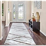 A2Z Rug Salvador 9957 Contemporary Modern Beige Cream Pattern Sitting Room Entry Area Rug Soft Short Pile 60x230cm - 1…