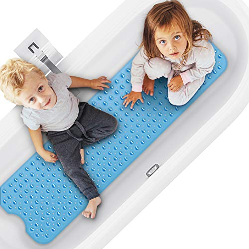 Magicfun Slip-Resistant Bathroom Mat, Natural Rubber Slip-Resistant Bath Mat 100 x 40 cm for Bathtubs of Any Size with Powerful 176 Suction Cups (Blue)