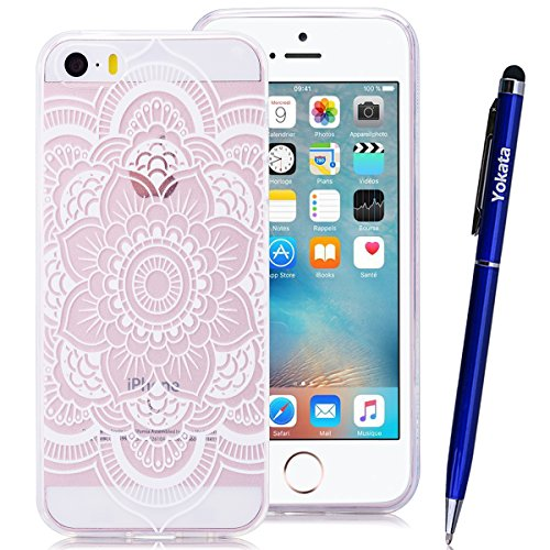 iPhone 5 / 5S / SE Coque, Yokata Ultra Mince Prints Motif Cover avec Silicone Gel Bumper Transparente Housse Case + 1*Stylet - Don't Touch Me Lotus