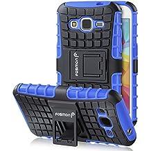 Samsung Galaxy Core Prime Funda, Fosmon (HYBO-RAGGED) Híbrido Desmontable Funda TPU + PC Cubierta de Carcasa con Soporte de Pie de Apoyo para Samsung Galaxy Core Prime (Azul / Negro)