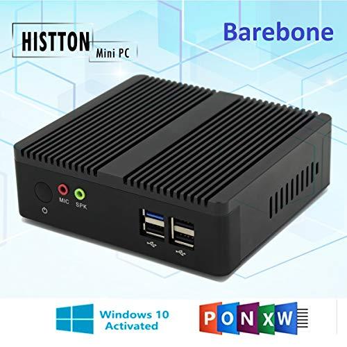 HISTTON Barebone Linux Lüfterloser Desktop PC Mini PC Windows 10 Intel Celeron Prozessor J1900 4K /...