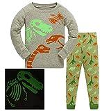 HIKIDS Jungen Schlafanzug Fluoreszenz Dinosaurier Herbst Winter Pyjamas Set Kinder Dino Langarm Nachtwäsche 2 Stücke Bekleidung 134