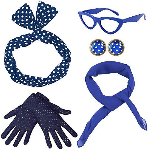 Coucoland 50er Jahre Rockabilly Kostüm Accessoires Damen 1950s Zubehör Set Inklusive Polka Dots Bandana Haarband Ohrringe Handschuhe Katzenaugen Sonnenbrille Chiffon Schal (Kostüm Mit Einem Blauen Kleid)