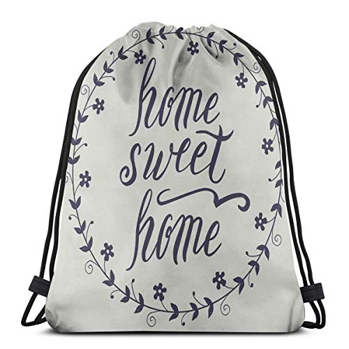 6f45efc59073 BBABYY Printed Drawstring Backpacks Bags,Circular Frame with Little Flowers  Leaves and Hand Written Text,Adjustable String Closure