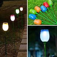 Bluelover Energia solare all'aperto Tulip colorato LED lampada giardino paesaggio giardino arredo luce - blu