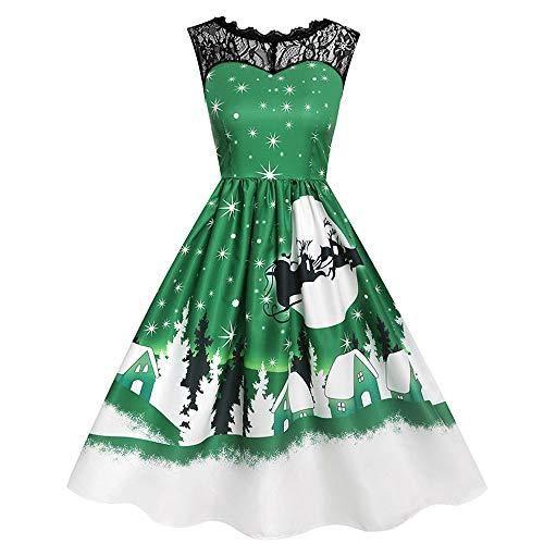 UJUNAOR Spitzennähten Damen-Print-Kleid mit Ohne Arm Weihnachtsdruck für Abend Party(Grün,CN S)