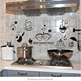 KUANGJING AbnehmbareWandaufkleberKüche Wandaufkleber Kaffee Süße Lebensmittel DIY Wandkunst Aufkleber Dekoration Ofen Esszimmer Hall Tapeten PVC Wandtattoos/Adhesive 65 * 35cm