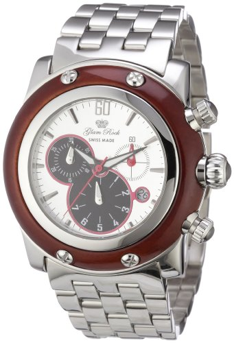 Glam Rock GR10140 - Reloj cronógrafo de Cuarzo para Mujer con Correa de Acero Inoxidable, Color Plateado