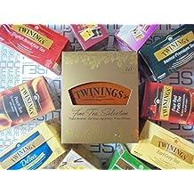 Twinings - Caja de madera con 4 compartimentos y bolsas de té Earl Grey, English Breakfast, Intense, Premium y sin teína, infusiones y manzanilla (250 unidades)