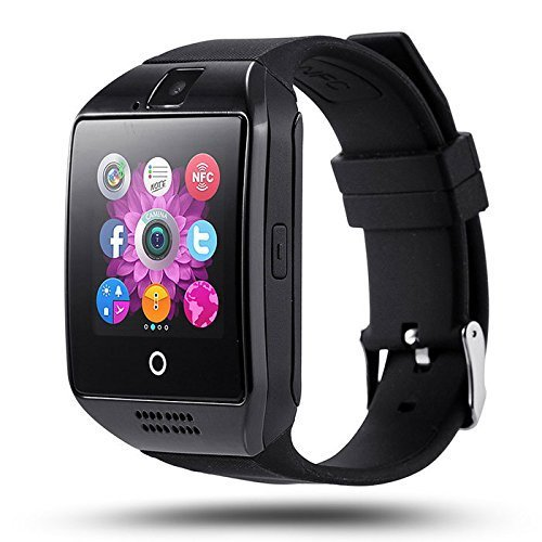 Welrock Q18 Black Android Bluetooth Smart Watch All 2g, 3g,4g Phone with Camera and Sim Card Support with Activity Trackers and Fitness Band by Welrock. (Grey)