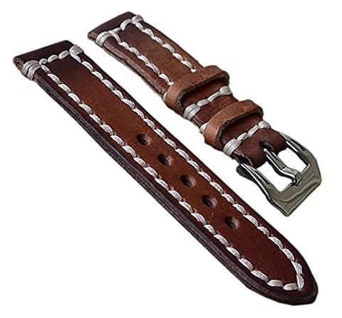 24mm marron bracelets de montres de luxe en cuir rétro en détresse des hommes de haute qualité remplacement cuir tanné
