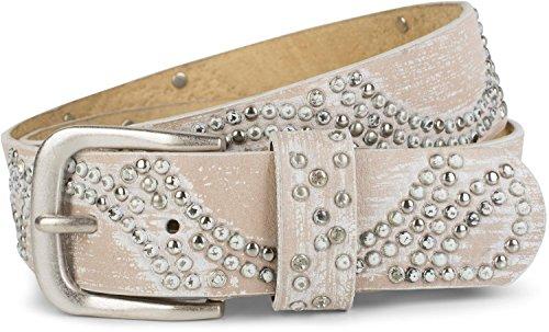 styleBREAKER Vintage Nietengürtel mit glitzerndem Strass und Nieten in runder Anordnung, Damen 03010066, Farbe:Hellbraun-Weiß;Größe:100cm
