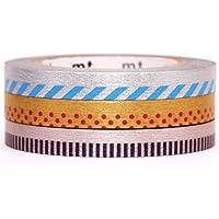 3 sottili nastri adesivi decorativi Washi mt argento oro