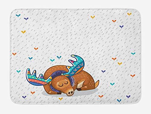 Icndpshorts Moose Bath Mat, Colorful Antlers Boho Deer Retro Artsy Winter Rain Pattern Rainbow Heart Animal Theme, Plush Bathroom Decor Mat with Non Slip Backing, 23.6 x 15.7 Inches, Multicolor Combo Winter Liner