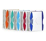 Trendiges Notizbuch mit 6-Fach Unterteilung, 150 Blatt, Din A4 / A5 / A6, liniert oder kariert, PP-Umschlag, Spiralbindung, Spiral-Notizbuch mit Hardcover (Din A5 - kariert, blau)