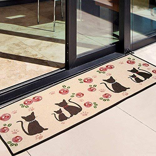 Alicemall Fußmatte Polyester Rutschfeste Saugfähig Weich Küchenläufer Fußabtreter für Bad Indoor Wohnzimmer Schlafzimmer Abriebfest Schnelltrocknend Matte 50 x 140 cm (Katzen und Blumen) - Küche-teppich-blumen