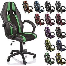 TRESKO Silla de oficina Racing silla de escritorio ordenador giratoria disponible en 14 colores, bicolor, silla Gaming ergonómica, pistón de gas certificado por SGS, adecuada para niños mayores (Negro / Verde)