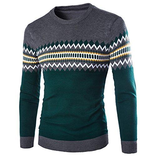 WSLCN Herren Sweatshirt gemustert Kontrastfarbe Grau / Grün