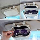 Heylas Brillenhalterung Brillenbox, Brillenhalter mit Magnet und Kartenhalter Auto Sonnenbrillenhalterung für Auto Sonnenblende, Einfache Montage